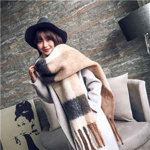 Wholesale cashmere thick tassel color matching scarf
