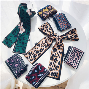 Double-sided leopard chiffon flat scarf