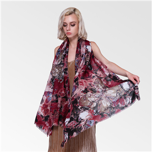 Butterfly plus gold printed cotton scarf wholesale from China