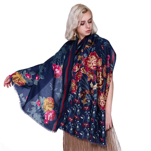 Wholesale half flower inlaid with gold edge printed cotton scarf
