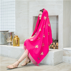 China cheap beaded embroidery embroidered tassel cashmere scarf