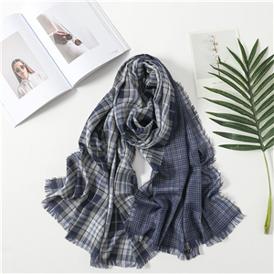 Double-sided plaid lengthened cotton scarf