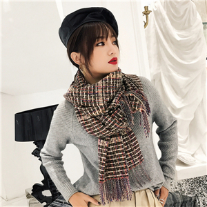 Plaid fringed cashmere scarf cheap from China