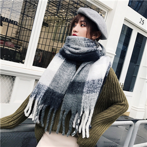 Colorblock plaid wool tassel scarf cheap from China