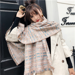 Color strip lattice tassel cashmere cheap scarf