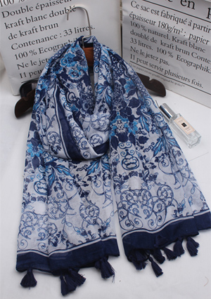 vintage blue and white porcelain long cotton line scarf