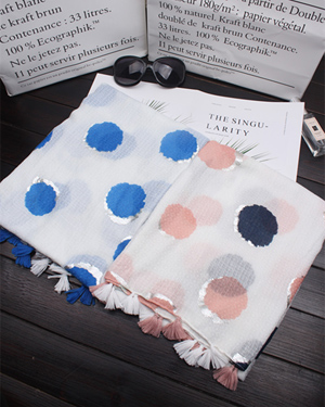 colorful polka dot tassel scarves wholesale