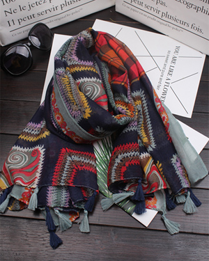 colored square geomentirc pattern cotton line tassel scarf