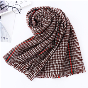 Vertical houndstooth cashmere thick cheap scarf
