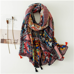 Vintage totem print tassel cotton scarf cheap from China