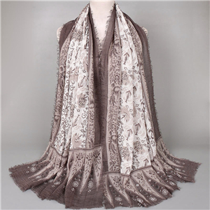Pleated printed Muslim cotton scarf wholesale from China