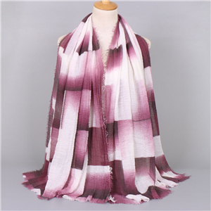 Plaid pattern fringed hairy Muslim cotton scarf