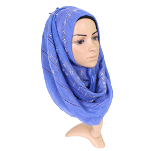 Wholesale monochrome diamond-studded Muslim cotton scarf