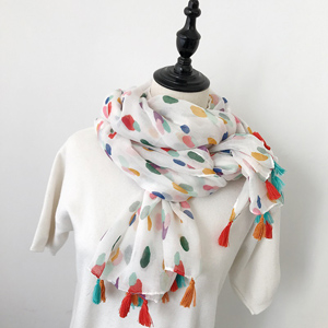 Colorful dot fringed scarves wholesale