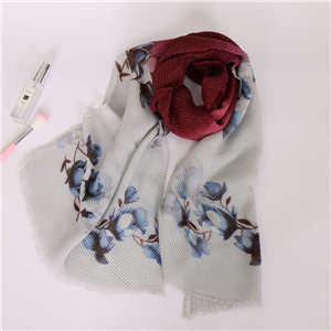 Wholesale Muslim gradient print pleated cotton scarf