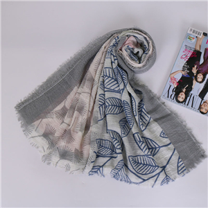 Wholesale pleated floral print hairy cotton scarf
