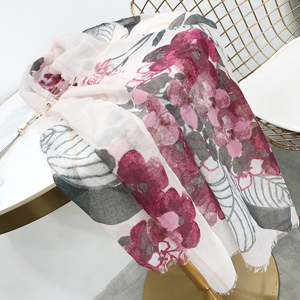 Sequin flowers printed cotton scarves