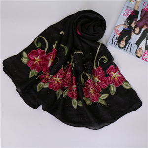 Wholesale embroidery printed cotton scarf