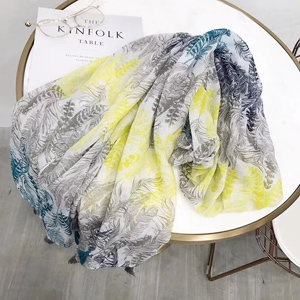 Hit color feather printing tassels scarves