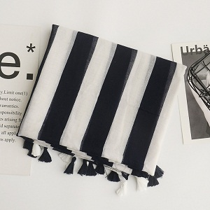 black and white vertical stripes cotton and linen scarf