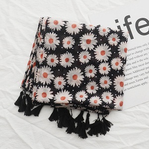 Literature and art daisies printing cotton and linen scarf