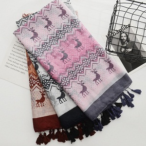 deer printing cotton and linen scarf