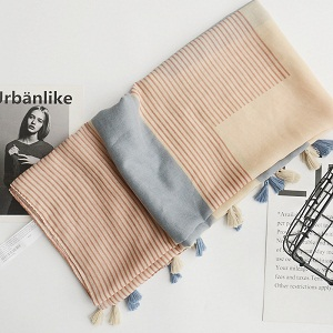 literary and artistic style cotton and linen scarf