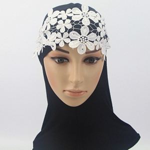 lace polyester weft knitting head scarf