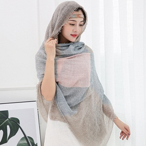 cotton and linen wrinkle color scarf