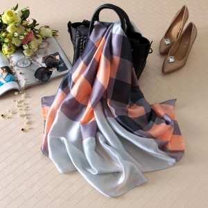 Stripe plaid soft silk printed sun protection scarf