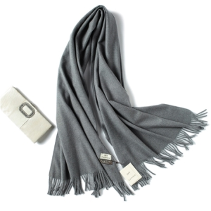 Pure color cashmere fringed warm scarf