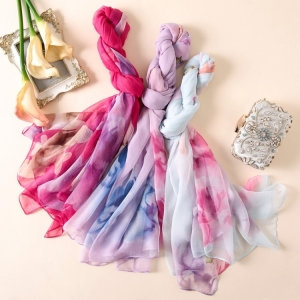Floral printed chiffon sunscreen oversized scarf