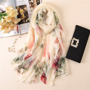 Floral print crocodile oversized scarf