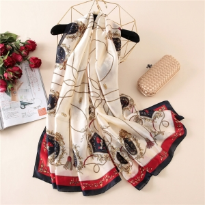 Chain printing silk decorative sunscreen scarf
