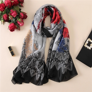 Flower printed silk decorative scarf