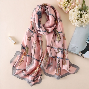 Chain printing silk sunscreen scarf
