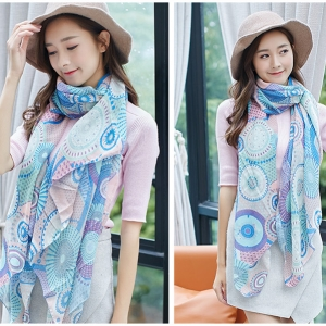 China Jinhua flower printing cotton and linen decorative scarf