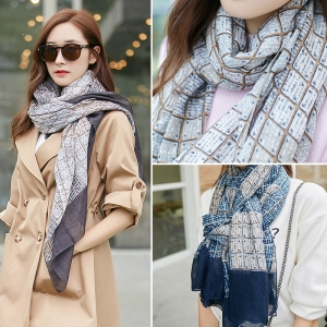 Yiwu cheap plaid cotton and linen sunscreen scarf