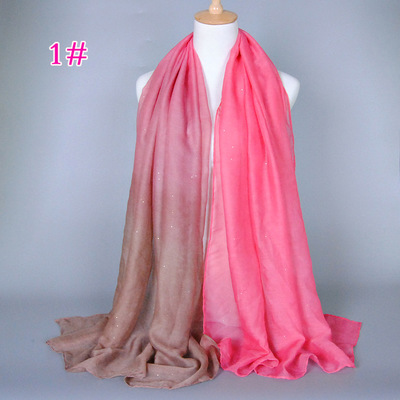 Gold decoration gradient color lady scarf