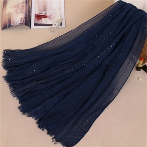 Monochrome cotton Sequin scarf fringed hair color female Hot Fashion Scarf