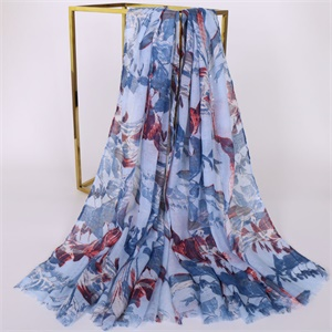 High quality Bali yarn shawl new type printed female pastoral scarf