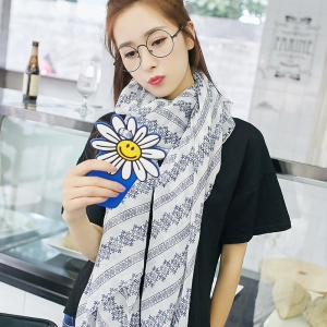 China Yiwu snowflake pattern printed cotton and linen sunscreen scarf