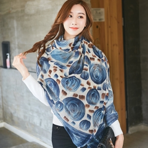 Wholesale color matching printed cotton and linen scarf