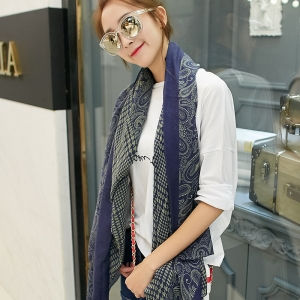Qiandaoge printed cotton and linen sunscreen scarf