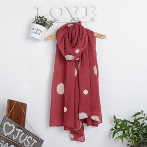 Embroidery dot cotton and linen scarf
