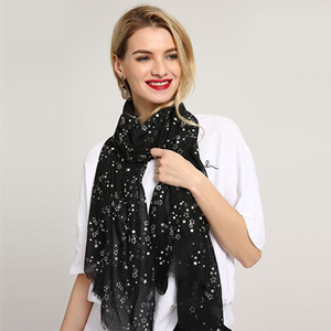 Hot silver star decorative printing cotton scarf