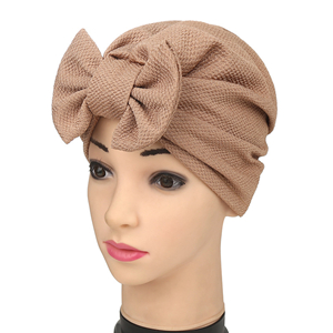 Bow pineapple flower muslim solid color head scarf