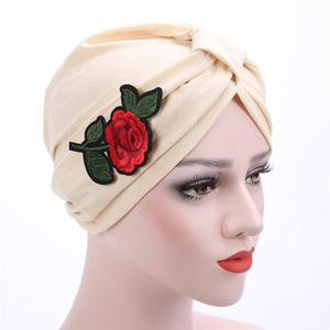 Cotton rose applique head scarf cheap from china