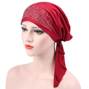 Cheap solid curved hot drilling Muslim head scarf
