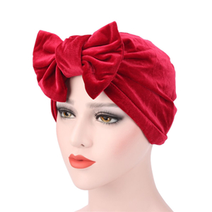Chinese Yiwu flannel bow Muslim head scarf